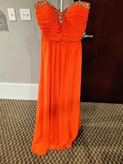 Style E40044 Jovani Orange Size 16 Coral Prom Plus Size Straight Dress on Queenly