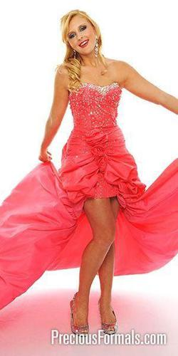 Style P50064  Precious Formals Orange Size 16 High Low Side slit Dress on Queenly