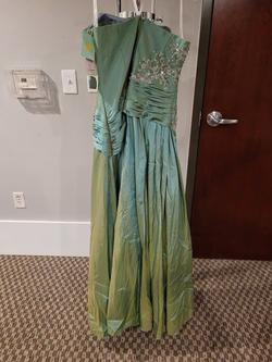 Style 11008 Precious Formals Light Green Size 16 Ombre Straight Dress on Queenly