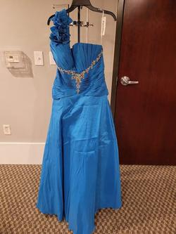 Style 3172 Karishma Prom Blue Size 16 One Shoulder Floral Turquoise Plus Size A-line Dress on Queenly