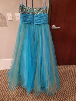 Style 5053 Lets Prom Blue Size 16 Tall Height A-line Dress on Queenly