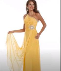 Style 6415 Party Time Formals Yellow Size 16 Prom One Shoulder Plus Size Straight Dress on Queenly