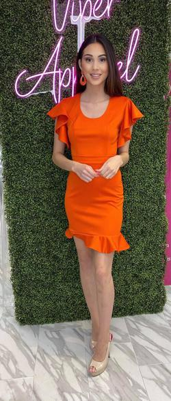 Style 6969 Fernando Wong Orange Size 4 Interview Cocktail Dress on Queenly
