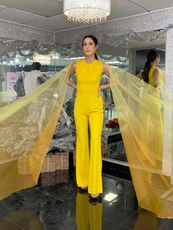 Style 2334 Fernando Wong Yellow Size 4 Tulle Tall Height Jumpsuit Dress on Queenly