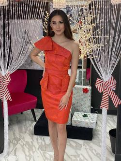 Style 2344 Fernando Wong Orange Size 6 Interview One Shoulder Cocktail Dress on Queenly