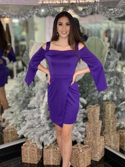 Style 2343 Fernando Wong Purple Size 6 Interview Cocktail Dress on Queenly