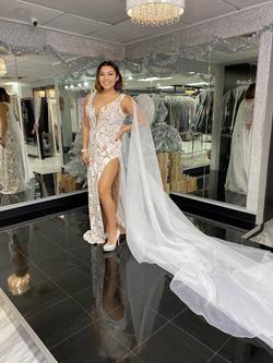 Style 2361 Fernando Wong White Size 8 Pattern Cape Side slit Dress on Queenly
