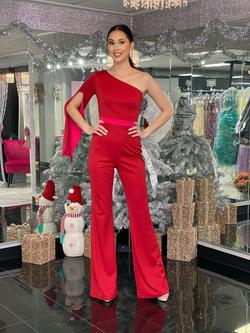 Style 2368 Fernando Wong Red Size 6 Long Sleeve Pageant Fun Fashion Jumpsuit Dress on Queenly
