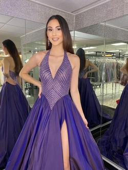 Style S03789 Jovani Purple Size 4 Ball Gown Side slit Dress on Queenly