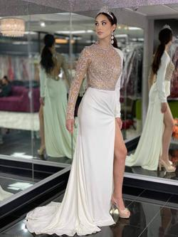 Style 31973 Jovani White Size 4 Backless Train Tall Height Side slit Dress on Queenly