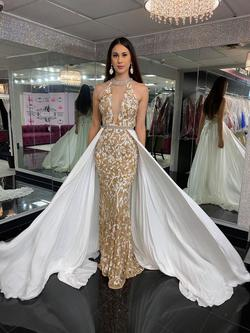 Style 44500 Sherri Hill Gold Size 8 Train Tall Height Mermaid Dress on Queenly