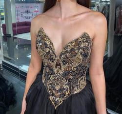 Style 44681 Sherri Hill Black Size 6 Strapless Ball Gown Side slit Dress on Queenly