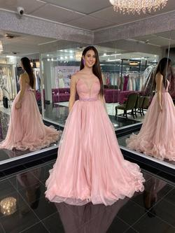 Style 44290 Sherri Hill Pink Size 6 Train Tall Height Ball gown on Queenly