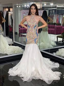Style 44376 Sherri Hill White Size 4 Sequin Multicolor Halter Mermaid Dress on Queenly