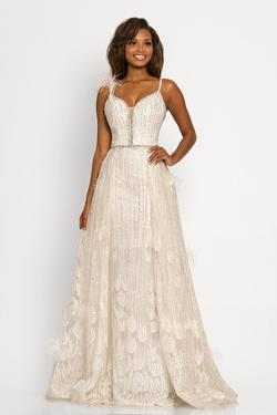 Style 2252 Johnathan Kayne White Size 6 Pageant Sequin A-line Dress on Queenly