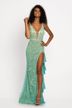 Style 2198 Johnathan Kayne Green Size 6 Tall Height Side slit Dress on Queenly