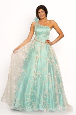 Style 2208 Johnathan Kayne Green Size 14 Pageant Sequin Ball gown on Queenly