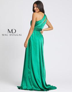 Style 49006A Mac Duggal Green Size 8 One Shoulder Pageant Side slit Dress on Queenly