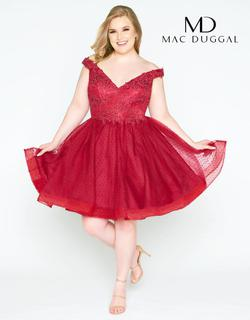 Style 67608F Mac Duggal Red Size 14 Homecoming Sorority Formal Plus Size Cocktail Dress on Queenly