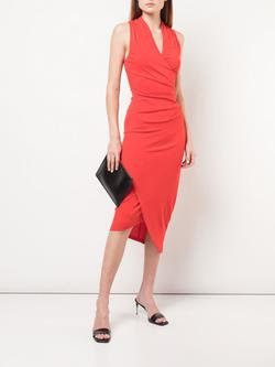 Nicole Miller Red Size 2 Sorority Formal V Neck Fitted Cocktail Dress on Queenly