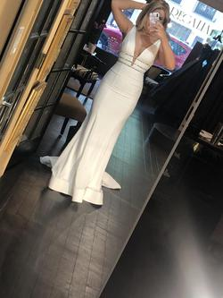 Jovani Couture White Size 6 Pageant Tall Height Side slit Dress on Queenly