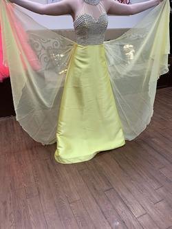 Cinderella Yellow Size 4 Pageant Silk Mermaid Dress on Queenly