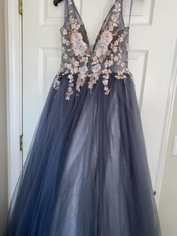 Madison James Silver Size 10 Ball gown on Queenly