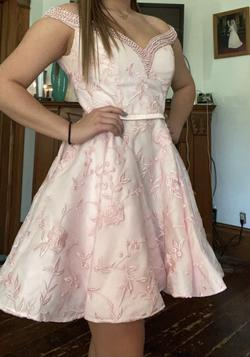 Lucci Lu Pink Size 12 Pattern Plus Size Cocktail Dress on Queenly