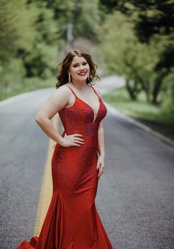 Elle Wilde Red Size 10 Plunge Prom Train A-line Dress on Queenly