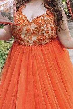 Tarik Ediz Orange Size 20 Tall Height Ball gown on Queenly