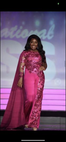 Custom Hot Pink One Armed Jumpsuit With Cape Hot Pink Size 10 Cape Jumpsuit Dress on Queenly