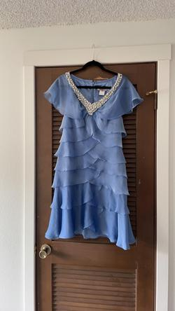 Jovani Blue Size 6 Jewelled A-line Dress on Queenly