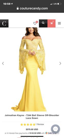 Style 7244 Johnathan Kayne Yellow Size 4 Prom Mermaid Dress on Queenly