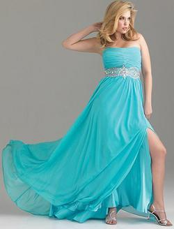 Style 6518W Madison James Blue Size 28 Plus Size Side slit Dress on Queenly