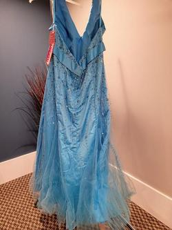 Style HB3845 Mori Lee Blue Size 26 Halter Mermaid Dress on Queenly