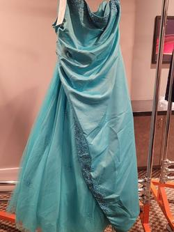 Style P6036W Rachel Allan Blue Size 26 Prom Tall Height Tulle A-line Dress on Queenly