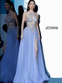 Style 00594 Jovani Blue Size 4 Tall Height Sequin Side slit Dress on Queenly