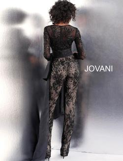 Style 64068 Jovani Black Size 6 Pageant Lace Mermaid Dress on Queenly