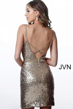 Style JVN2091 Jovani Gold Size 00 Prom Mini Sorority Formal Cocktail Dress on Queenly