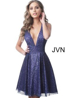 Style JVN2131 Jovani Purple Size 8 Flare Prom Sorority Formal Cocktail Dress on Queenly