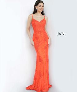 Style JVN02013 Jovani Orange Size 4 Embroidery Lace Mermaid Dress on Queenly