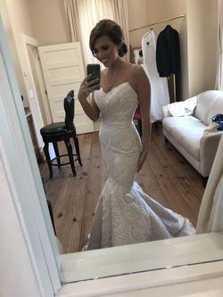 Anne Barge White Size 0 Wedding Blue Train Mermaid Dress on Queenly