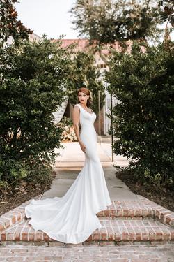 Bridals by Lori White Size 0 Wedding Train Custom Mermaid Dress on Queenly
