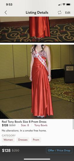 Tony Bowls Red Size 8 Pageant Straight Dress on Queenly