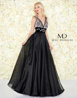 Style 2035R Mac Duggal Black Size 6 Embroidery Ball gown on Queenly