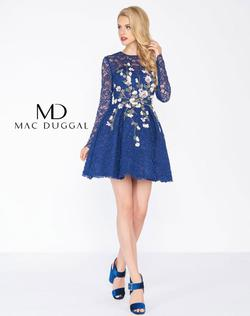 Style 50443R Mac Duggal Blue Size 2 Embroidery Sleeves Cocktail Dress on Queenly