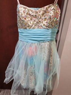 Style 384200 Josh and Jazz Prom Blue Size 12 Mini Tall Height Homecoming Cocktail Dress on Queenly