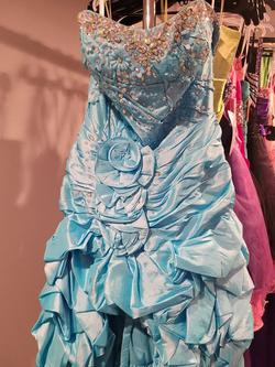 Style P50064 Precious Formals Blue Size 12 Prom High Low A-line Dress on Queenly
