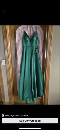 Jovani Green Size 2 Side Slit Fitted A-line Dress on Queenly