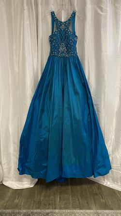 Jovani Blue Size 4 Halter Ball gown on Queenly